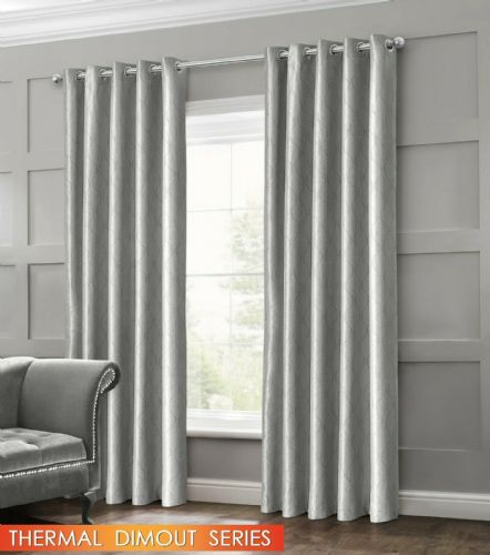 GEOMETRIC WAVE EMBOSSED LIVINGROOM BEDROOM THERMAL BLACKOUT RING TOP CURTAINS SILVER